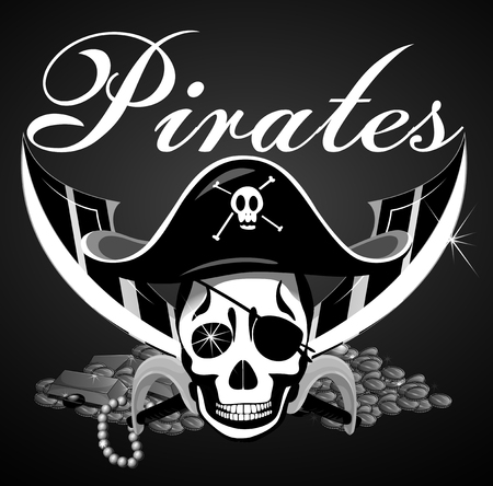 bad boy: Pirate theme with skull and swords illustration