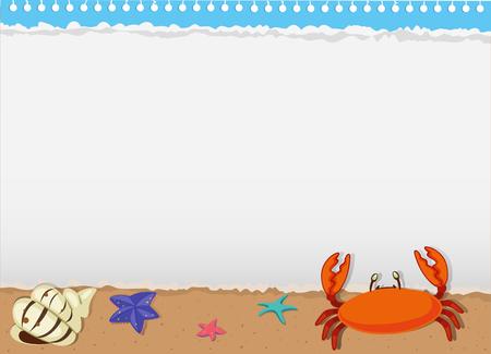 sea animals: Border design with sea animals illustration
