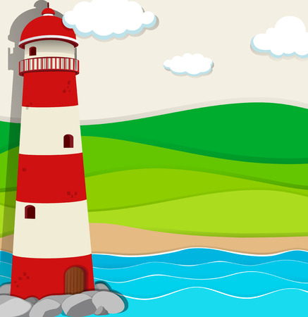 nature scenery: Lighthouse in the ocean illustration
