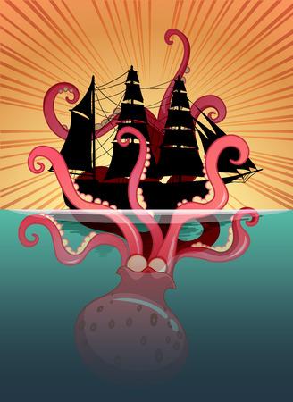 wild living: Sea monster and sailing ship illustration