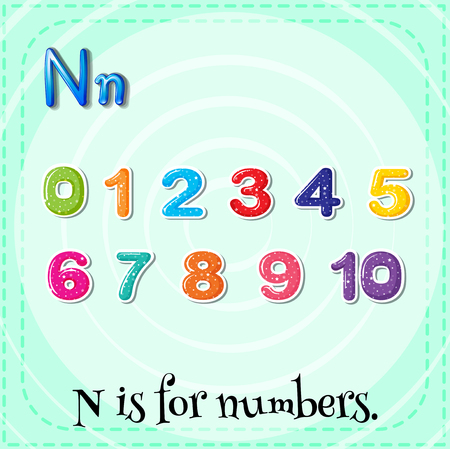 letter alphabet pictures: Flashcard N is for numbers illustration