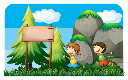 hobby: Two boys running in the park illustration