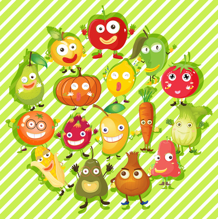 Different kind of fruits and vegetables illustration Illustration
