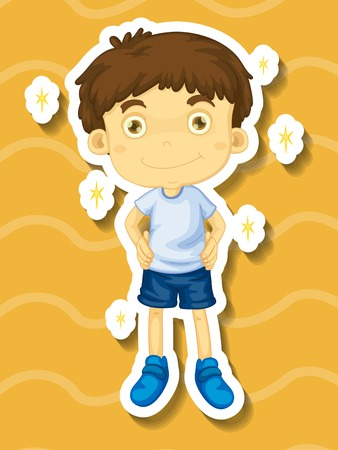 clean clothes: Little boy in clean clothes illustration