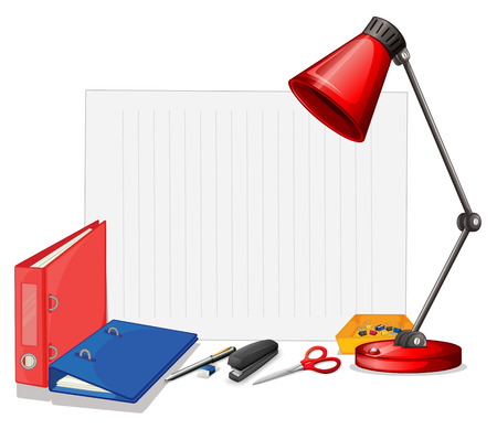 office supply: Different kind of stationaries illustration
