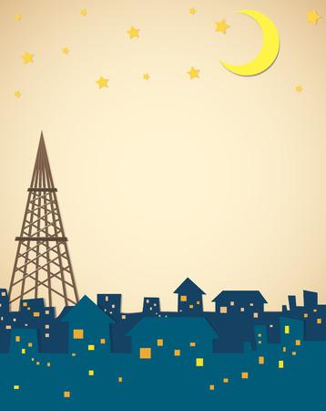 outdoor lights: Stars and moon over the neighborhood illustration
