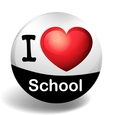 i like my school: I love school on round badge illustration