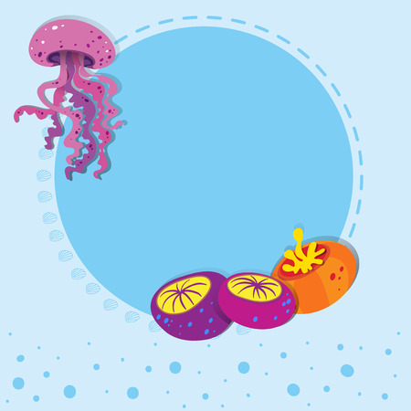 jelly fish: Border design with jelly fish illustration