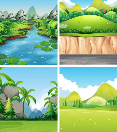 Four different nature scenes illustration