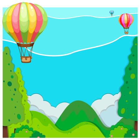 hills: Nature scene with balloon over hills illustration