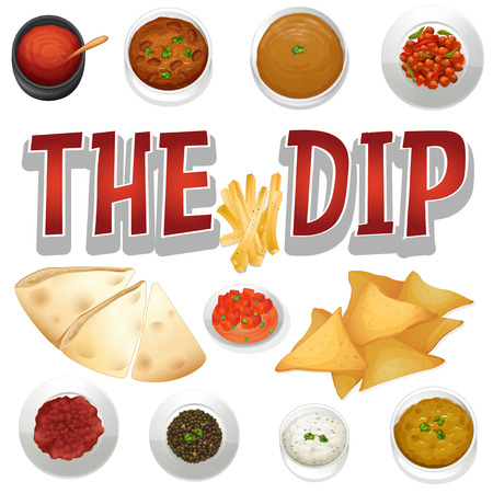chips and salsa: Different kind of dips and chips illustration