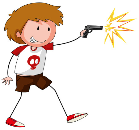 role play: Boy playing with gun illustration