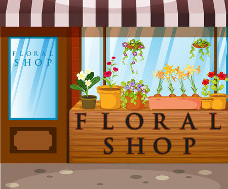 Floral shop with beautiful flowers in front illustration