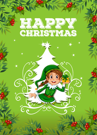 religious backgrounds: Happy christmas theme with elf and present illustration