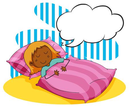 Girl sleeping in the bed illustration Illustration