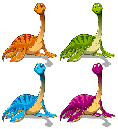 long neck: Dinosaurs with long neck illustration