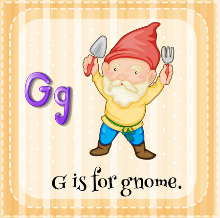 gnome: Flashcard letter G is for gnome illustration