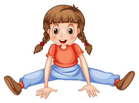 cartoon kid: Little girl stretching her legs illustration Illustration