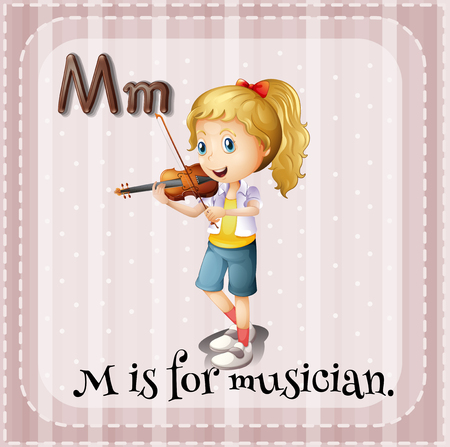 letter alphabet pictures: Flashcard M is for musician illustration