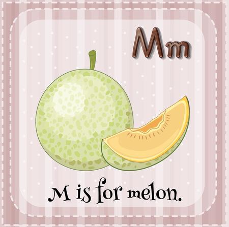letter alphabet pictures: Flashcard letter M is for melon illustration Illustration