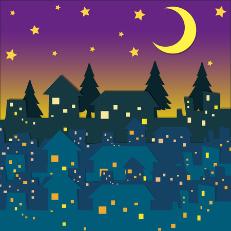 residental: Night scene with many houses illustration Illustration