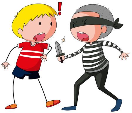 Robbber is threatening a boy illustration