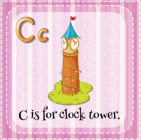 clock tower: Flashcard C is for clock tower illustration Illustration