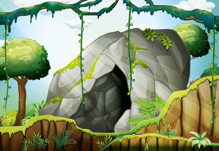 cartoon trees: Cave in the deep forest illustration Illustration