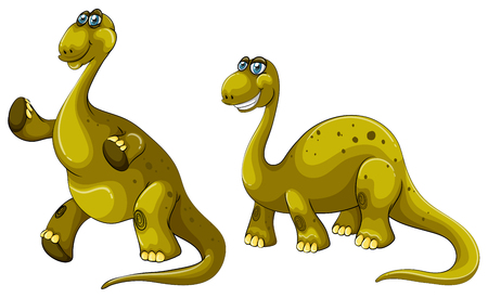 dinosaur cute: Green dinosaurs with long necks illustration