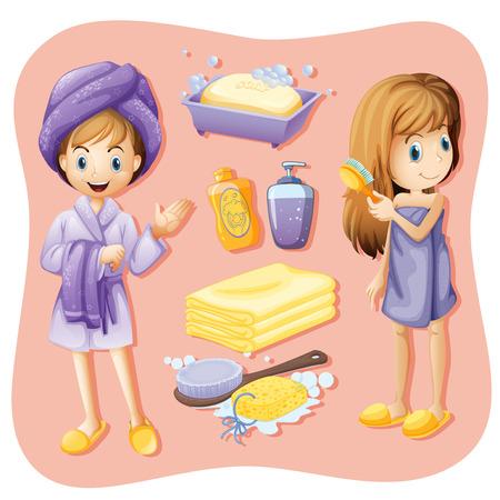 mujer bañandose: Las mujeres en bata de baño y set de baño ilustración Vectores