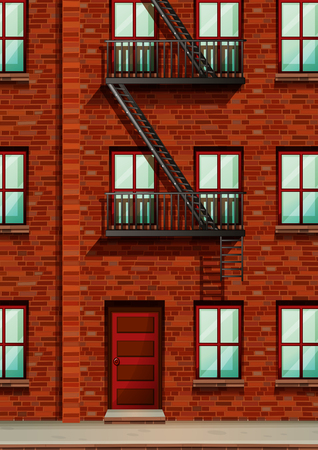 fire escape: Fire escape on the side of apartment illustration