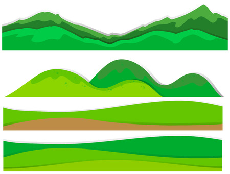 Different view of mountains illustration