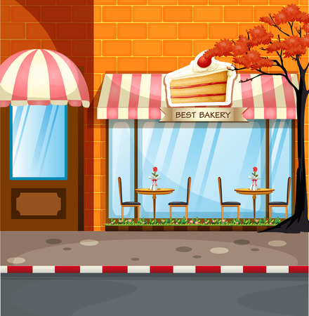 sidewalk: Bakery shop with tables and chairs outside illustration