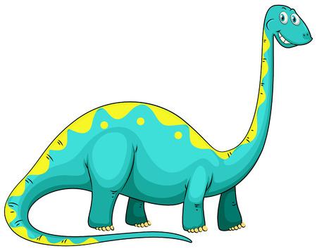 cuello largo: Blue dinosaur with long neck illustration Vectores