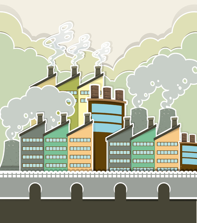 pollution water: Smoke coming out of factory illustration
