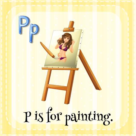 p illustration: Flashcard alphabet P is for painting illustration Illustration