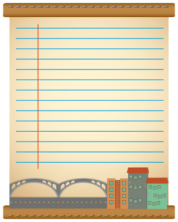 perspectiva ciudad: Line paper design with city view illustration