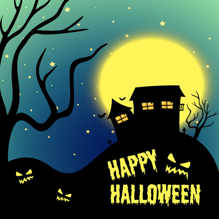 night art: Halloween night with haunted house illustration