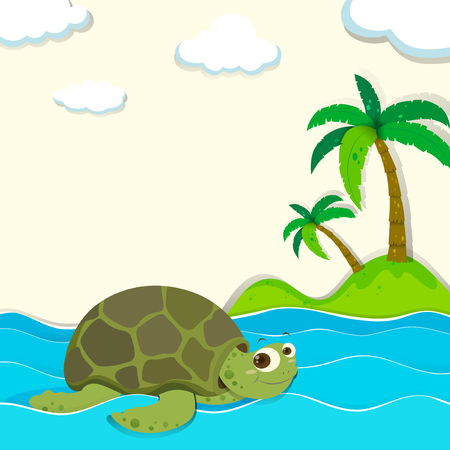 water turtle: Turtle swimming in the ocean illustration