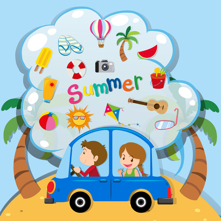 vacation summer: Summer vacation with people driving in car illustration Illustration