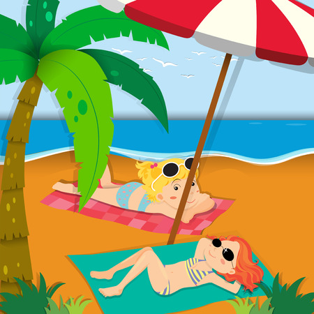 two girls: Two girls sunbathing on the beach illustration