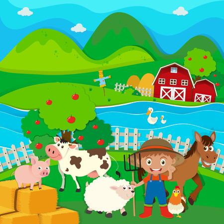 animales de granja: Farmer y animales de granja en la granja ilustración Vectores