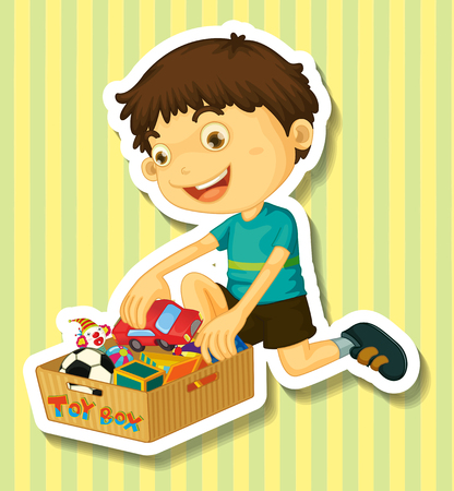 toy box: Boy putting toys in the box illustration