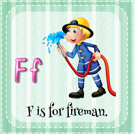 fireman with hose: Flashcard letter F is for fireman illustration