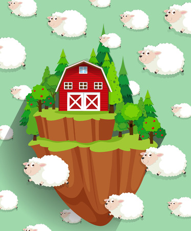 farm house: Farmhouse and sheep flying in the sky illustration