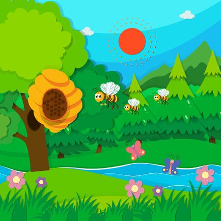 animales del bosque: Abeja volando alrededor de la ilustración de la colmena