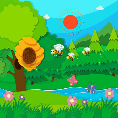 forest animals: Bee flying around beehive illustration