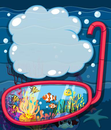 underwater scene: Underwater scene with sea animals illustration
