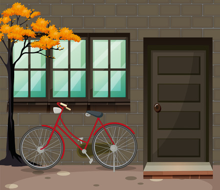 brick road: Bicycle parking outside the building illustration