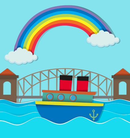 rainbow bridge: Bridge over river and boat on water illustration Illustration